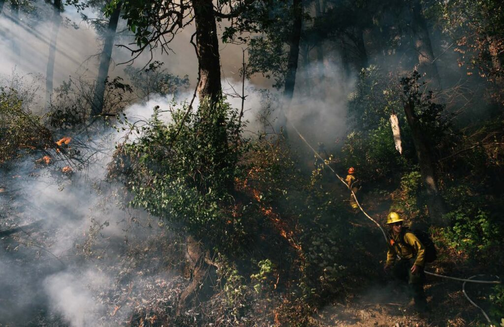 Holding the planned line on a prescribed burn in Weitchpec part of the Yurok Territory, California.